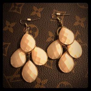 Jewelry - Light Pink Faceted Chandelier Earrings